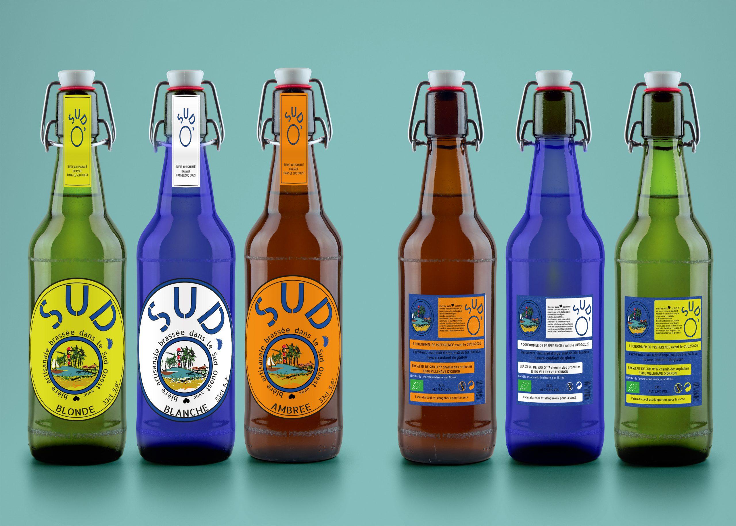 mock up de présentation de la création d'étiquette de bières blonde blanche et ambrée sud o'