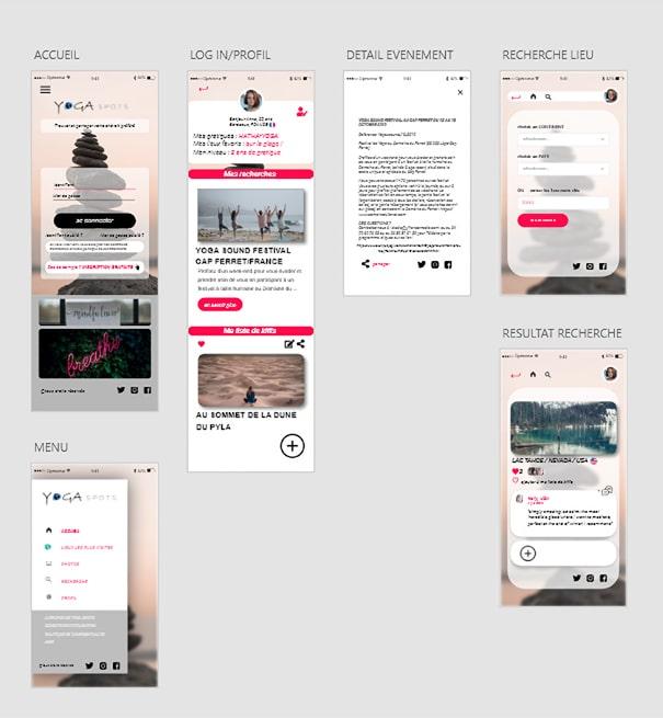 planche de présentation des maquettes de page mobile pour le projet d'application yoga spot