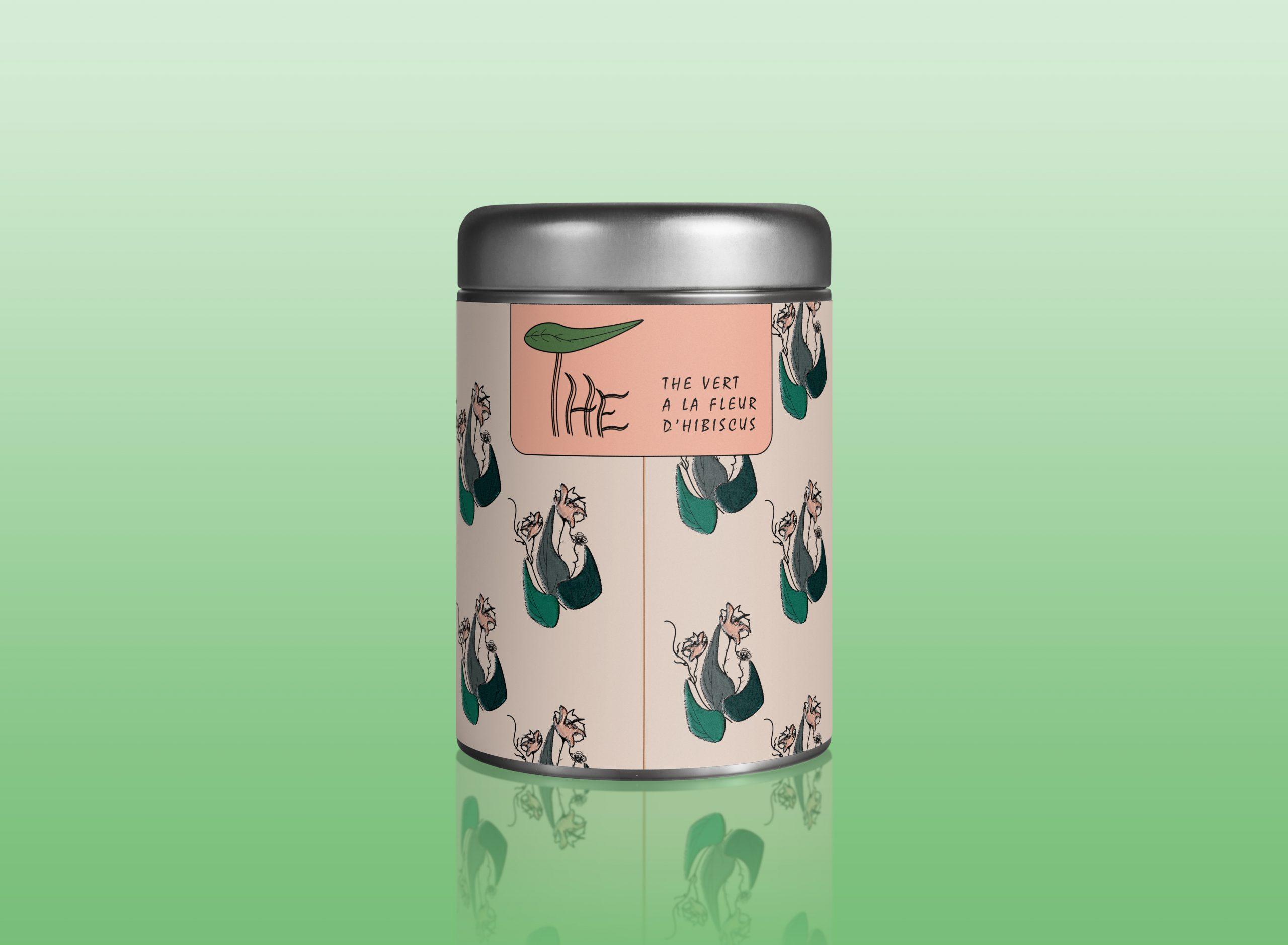 mock up illustrant le packaging d'une boîte de thé. j'ai crée le nom et l'illustration