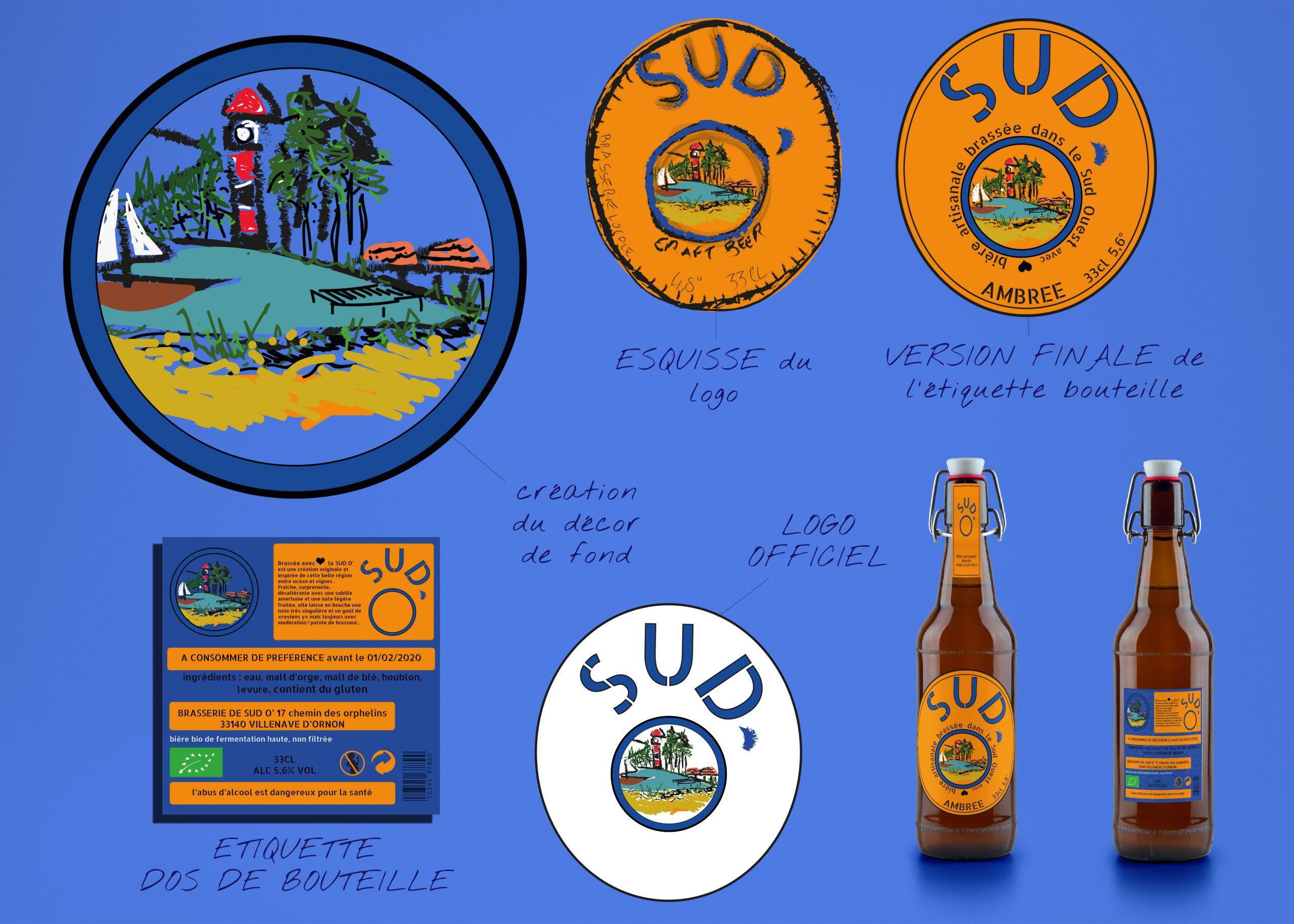 planche explicative création identité visuelle de la marque sud o' logo et étiquettes