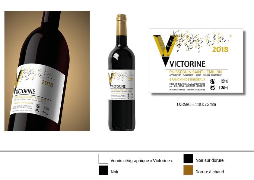 planche d'illustration de l'étiquette de vin 1 victorine