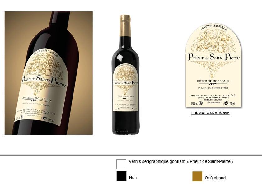 planche d'illustration de l'étiquette de vin 2 prieur de st pierre
