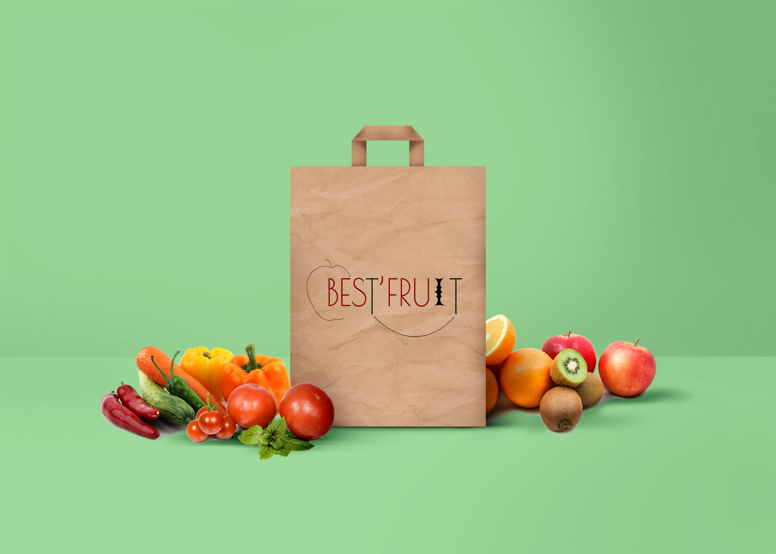 logo de best fruit dans un mock up fruits et légumes sac papier