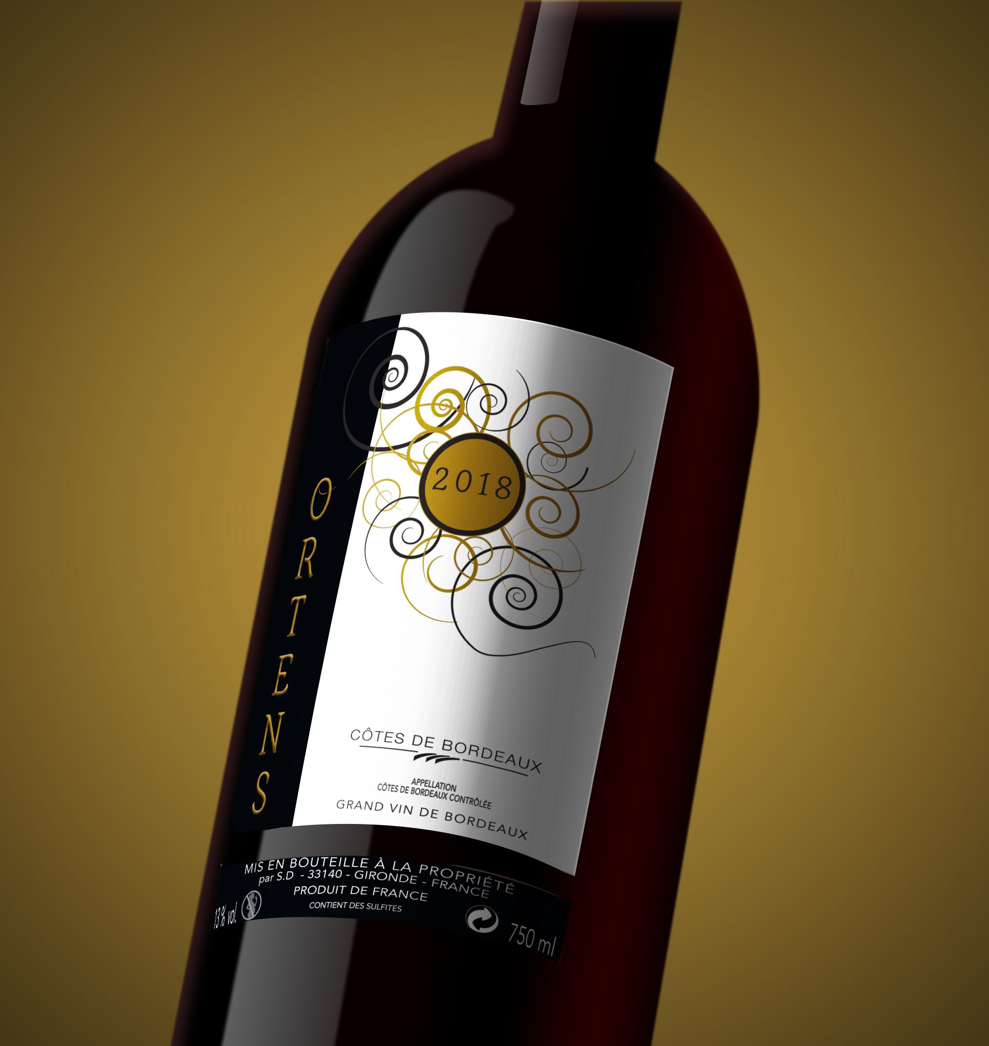planche d'illustration de l'étiquette de vin 2 ortens