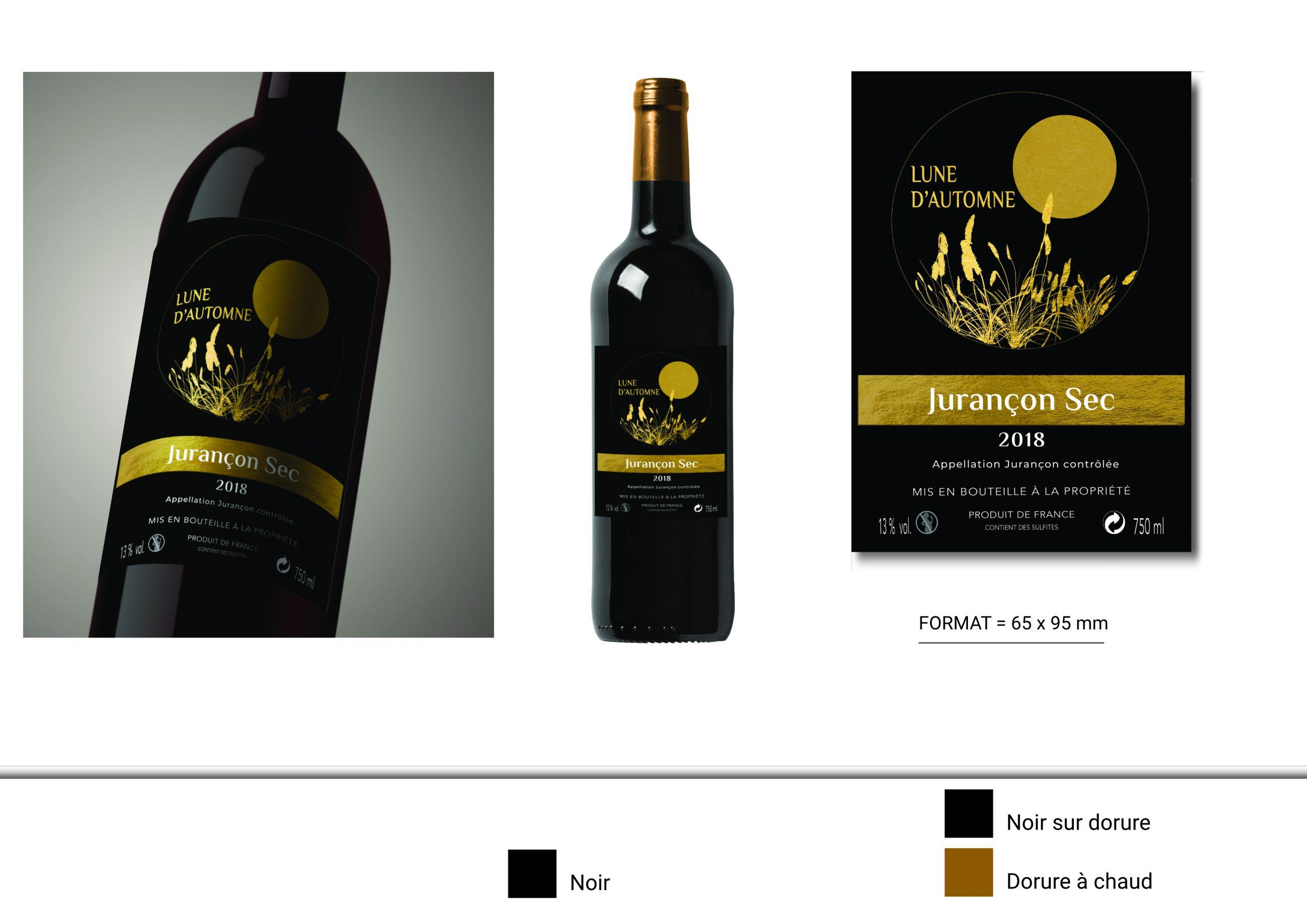 mock up de présentation de la création d'étiquette de vin jurançon