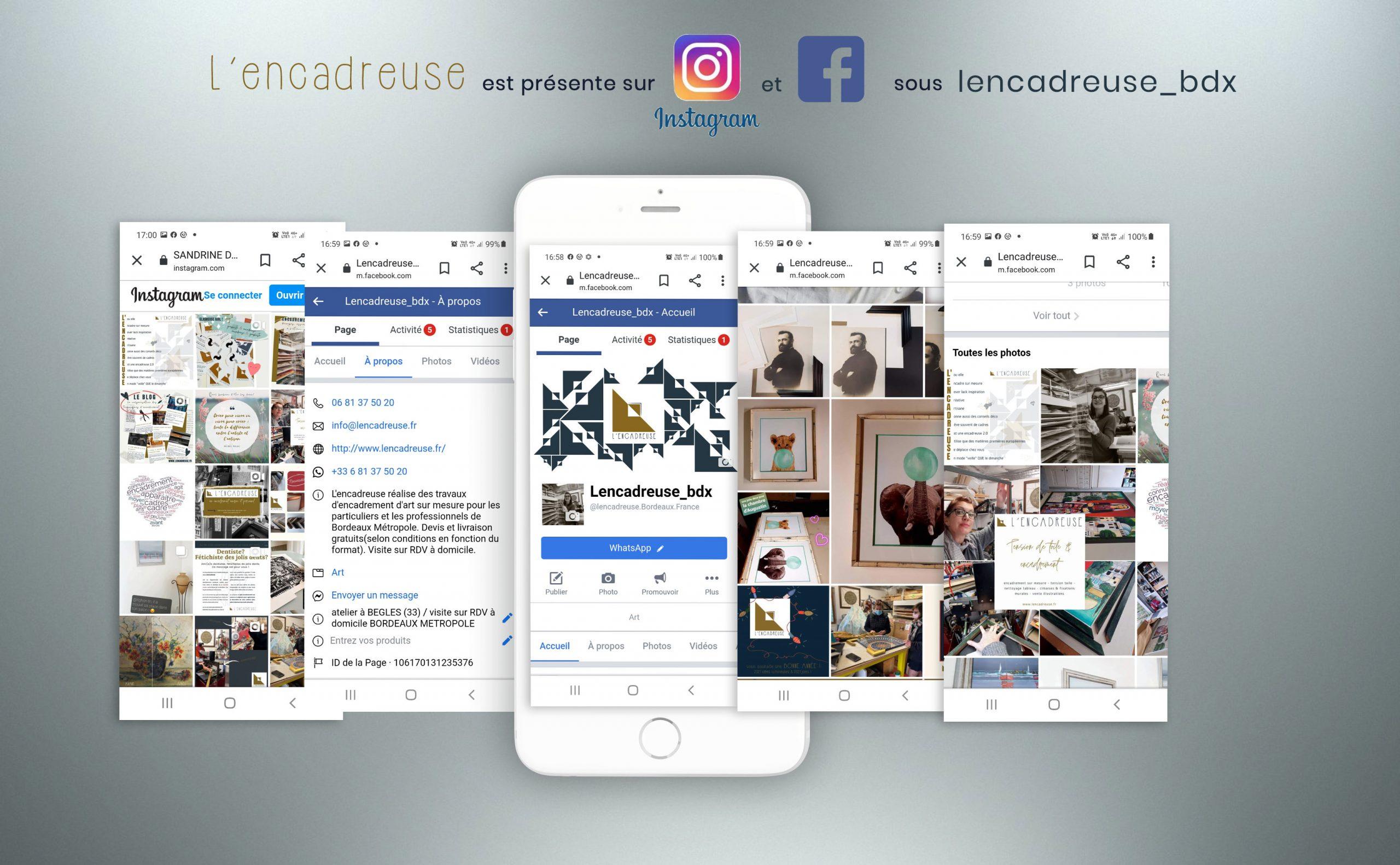 pages instagram et facebook de l'encadreuse